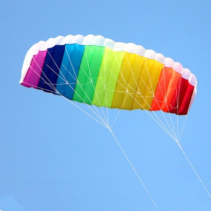 free shipping dual line 1 5m Parafoil kites flying rainbow Sports Beach stunt kite with handle