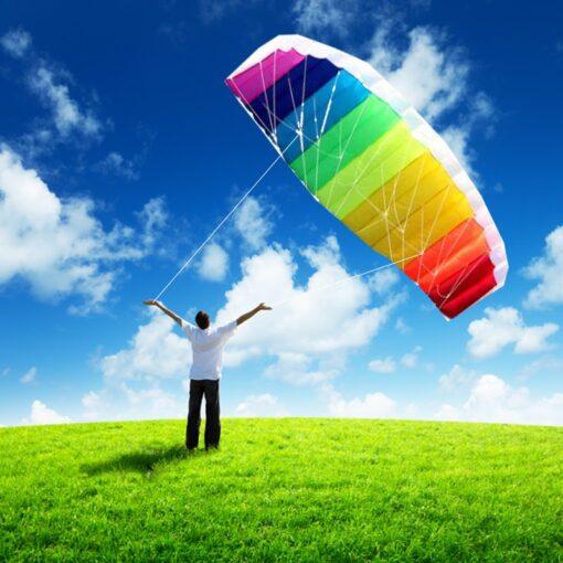 free shipping dual line parafoil kite flying tools line power braid sailing kitesurf rainbow outdoor toys