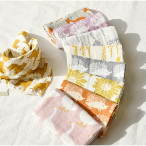new Cotton Blankets Newborn Soft Organic Cotton Blanket Muslin Swaddle Wrap Feeding Burp Cloth Towel Scarf 5