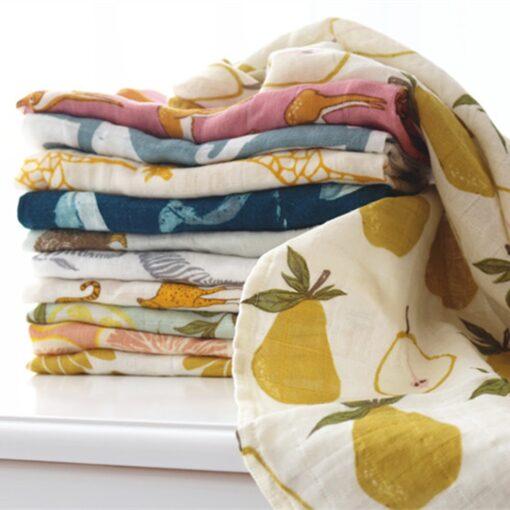 new Cotton Blankets Newborn Soft Organic Cotton Blanket Muslin Swaddle Wrap Feeding Burp Cloth Towel Scarf