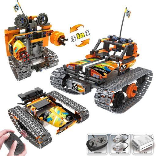 new STEM toys kids building blocks motor rc auto legoINGlys technical car with remote control set 1