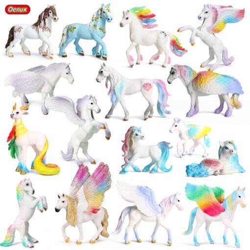 new Unicorn Doll Toy Simulation Mini Animal Model Unicorn Horse Figure Model Wild Figures Kids Toys 1