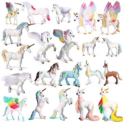 new Unicorn Doll Toy Simulation Mini Animal Model Unicorn Horse Figure Model Wild Figures Kids Toys