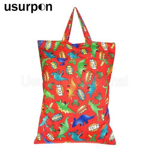 usurpon 1 pc 45 60cm Double pocket waterproof pul zipper wet bag reusable babies cloth